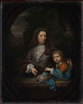 Mr Jan van de Poll (1668-1745) met zijn oudste zoon, Harmen Hendrik, geschilderd door Arnold Boonen. Foto beschikbaar gesteld door het Rijksmuseum.